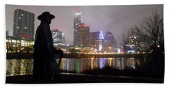 Austin Hike And Bike Trail - Iconic Austin Statue Stevie Ray Vaughn - One Beach Sheet