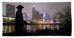 Austin Hike And Bike Trail - Iconic Austin Statue Stevie Ray Vaughn - One Beach Sheet