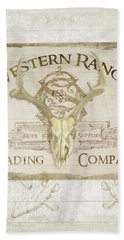 Beach Towel featuring the painting Western Range 3 Old West Deer Skull Wooden Sign Trading Company by Audrey Jeanne Roberts