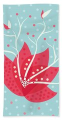 Exotic Pink Flower And Dots Beach Towel