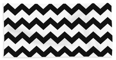 Black White Geometric Pattern Beach Towel
