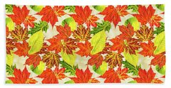 Beach Towel featuring the mixed media Fall Leaves Pattern by Christina Rollo