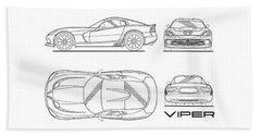 Srt Viper Blueprint Beach Towel by Mark Rogan