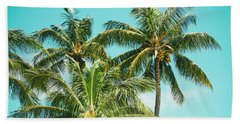 Coconut Palm Trees Sugar Beach Kihei Maui Hawaii Beach Towel by Sharon Mau