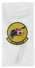 Beach Sheet featuring the digital art 27th Fighter Squadron - 27 Fs Patch Over White Leather by Serge Averbukh