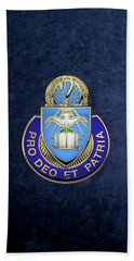 Beach Towel featuring the digital art U. S. Army Chaplain Corps - Regimental Insignia Over Blue Velvet by Serge Averbukh