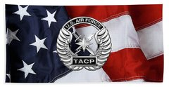 Beach Towel featuring the digital art U. S.  Air Force Tactical Air Control Party -  T A C P  Badge Over American Flag by Serge Averbukh