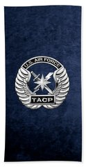 Beach Sheet featuring the digital art U. S.  Air Force Tactical Air Control Party -  T A C P  Badge Over Blue Velvet by Serge Averbukh