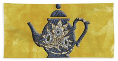 Tulips And Willow Pattern Teapot Beach Towel