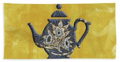 Tulips And Willow Pattern Teapot Beach Sheet