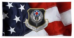 Air Force Special Operations Command -  A F S O C  Shield Over American Flag Beach Sheet by Serge Averbukh