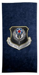 Air Force Special Operations Command -  A F S O C  Shield Over Blue Velvet Beach Sheet by Serge Averbukh