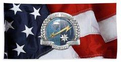 U. S.  Air Force Combat Control Teams - Combat Controller C C T Badge Over American Flag Beach Towel by Serge Averbukh