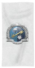 U. S.  Air Force Combat Control Teams - Combat Controller C C T Badge Over White Leather Beach Sheet by Serge Averbukh