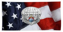 U. S.  Air Force Pararescuemen - P J Badge Over American Flag Beach Sheet by Serge Averbukh