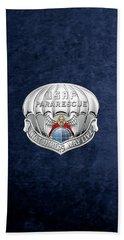U. S.  Air Force Pararescuemen - P J Badge Over Blue Velvet Beach Sheet by Serge Averbukh