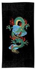 The Great Dragon Spirits - Turquoise Dragon On Black Silk Beach Sheet by Serge Averbukh