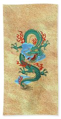 The Great Dragon Spirits - Turquoise Dragon On Rice Paper Beach Sheet by Serge Averbukh