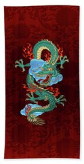 The Great Dragon Spirits - Turquoise Dragon On Red Silk Beach Sheet by Serge Averbukh