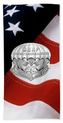 U. S.  Air Force Combat Rescue Officer - C R O Badge Over American Flag Beach Sheet by Serge Averbukh