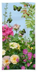 Beach Towel featuring the painting Wild Garden by Ivana Westin