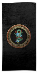 Treasure Trove - Turquoise Dragon Over Black Velvet Beach Sheet by Serge Averbukh