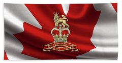 Canadian Provost Corps - C Pro C Badge Over Canadian Flag Beach Sheet by Serge Averbukh