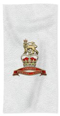 Canadian Provost Corps - C Pro C Badge Over White Leather Beach Towel by Serge Averbukh