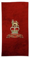 Canadian Provost Corps - C Pro C Badge Over Red Velvet Beach Towel by Serge Averbukh