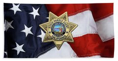 California State Parole Agent Badge Over American Flag Beach Towel by Serge Averbukh