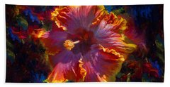 Rainbow Hibiscus Tropical Flower Wall Art Botanical Oil Painting Radiance  Beach Towel