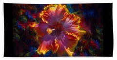 Rainbow Hibiscus Tropical Flower Wall Art Botanical Oil Painting Radiance  Beach Sheet