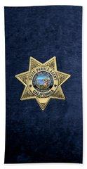 California State Parole Agent Badge Over Blue Velvet Beach Sheet by Serge Averbukh