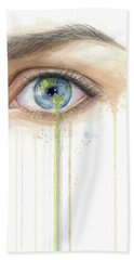 Earth In The Eye Crying Planet Beach Towel