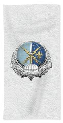 Special Operations Weather Team -  S O W T  Badge Over White Leather Beach Sheet by Serge Averbukh