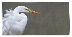 Portrait Of An Egret Rectangle Beach Towel
