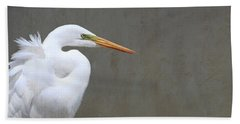 Portrait Of An Egret Rectangle Beach Towel