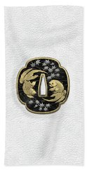 Japanese Katana Tsuba - Twin Gold Fish On Black Steel Over White Leather Beach Towel
