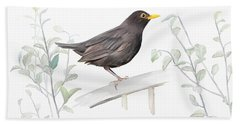 Beach Towel featuring the painting Ms. Blackbird Is Brown by Ivana Westin