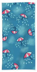 Fun Raining Umbrella Pattern Beach Towel