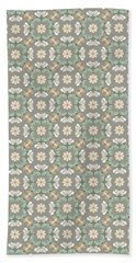 Beach Towel featuring the digital art Folk Art Inspired Chrysanthemums In Muted Hues by MM Anderson