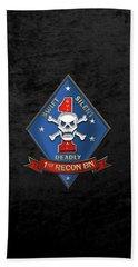 U S M C  1st Reconnaissance Battalion -  1st Recon Bn Insignia Over Black Velvet Beach Towel