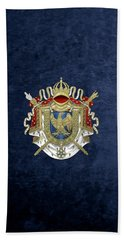 Greater Coat Of Arms Of The First French Empire Over Blue Velvet Beach Towel