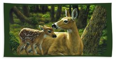 Whitetail Deer - First Spring Beach Towel