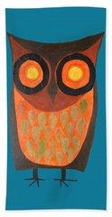 Give A Hoot Orange Owl Beach Towel