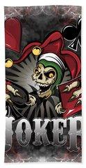Joker Poker Skull Beach Towel