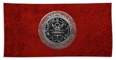 Silver Seal Of Solomon - Lesser Key Of Solomon On Red Velvet  Beach Towel