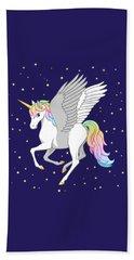 Pretty Rainbow Unicorn Flying Horse Beach Towel