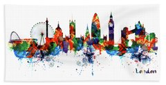 London Watercolor Skyline Silhouette Beach Towel