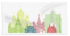 Moscow Russia Skyline Beach Towel